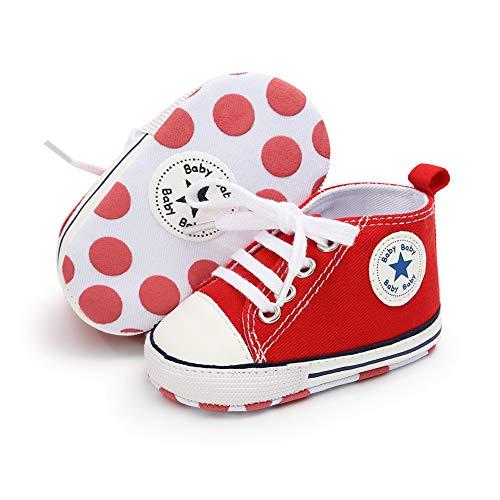 Babycute - Scarpe in tela per neonati e bambini molto piccoli che cominciano a camminare, soletta morbida, con lacci, stile casual, unisex, Beige (A1 rosso.), 6-12 mesi