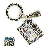 Keyring Bracelets, Looffy PU Leather Keychain Bangle Wristlet Bracelet Tassel Card Key Holder for Women