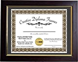 Creative Picture Frames 14x17 Eco Mahogany Diploma Frame with Gold Lip Black Mat Glass and Installed Wall Hangers | Frame Holds 16x20 Media Without Mat