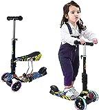 Patinete Niño 2 en 1, andador de 3 ruedas con asiento y respaldo desmontables, altura ajustable, ruedas luminosas para niños y niñas de 2 años o más