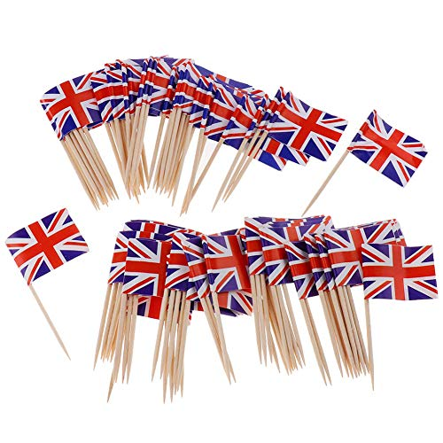 Ruiting Mini-Flagge Zahnstocher 100Pcs Britische Flagge Kuchen Auswahl Internationale Events Cocktail-Stock-Flagge Obst Lebensmittel Auswahl