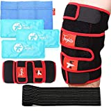 TOUGHITO Knee Ice Pack Wrap – Hot & Cold Knee Brace for Joint Pain, Bursitis Pain Relief, Knee Injury, Arthritis, Meniscus Tear, ACL, Sprains & Swelling – Extra Ice Pack Sleeve with Elastic Strap