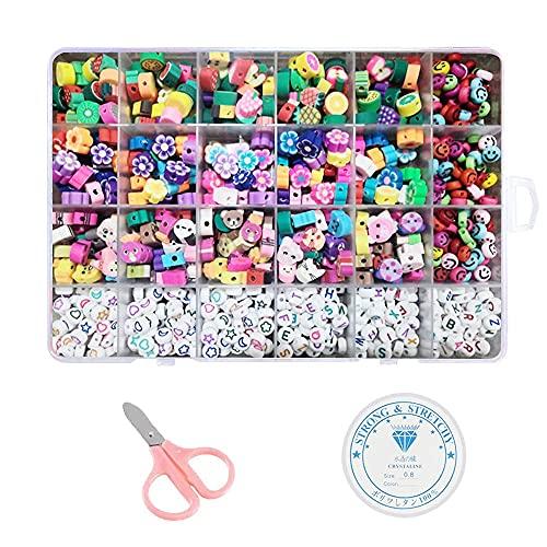 YeVhear 750 piezas de pulseras de bricolaje para niños, con frutas de colores, animales, flores, letras, carita sonriente, para hacer pulseras de joyería, con tijeras de seguridad y cordón elástico