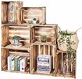 LAUBLUST Vintage Holzkisten 7er Set Geflammt - 50x40x30cm / 40x30x25cm | Weinkisten & Obstkisten | Deko- & Möbelkisten