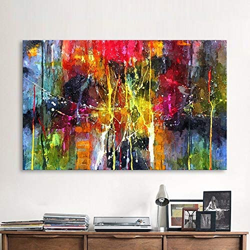 QIAISHI Abstrakte Malerei Bunte Leinwand Wandbilder für Wohnzimmer Büro Schlafzimmer Moderne Leinwand  em e