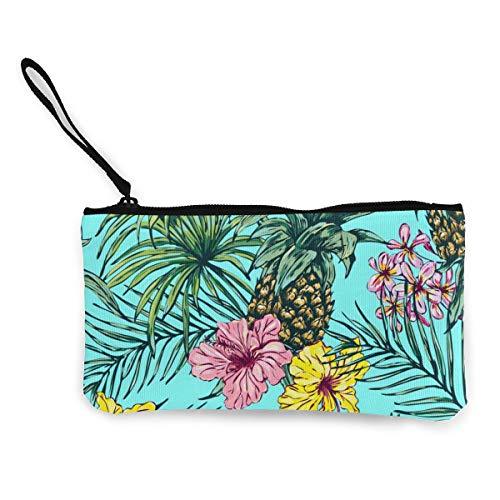 Ananas, tropische Blumen, Palmenblätter und Pflanzen, Leinen, Geldbörse für Münzen, Ausweise und andere