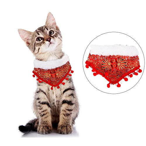 Dreamls Huisdier Bandana, Hond Kerstmis Bibs Borduren Patroon Nieuwjaar Bandana Kraag met Gesp hals Kostuum voor Kleine Honden Katten, S: Length: 14cm