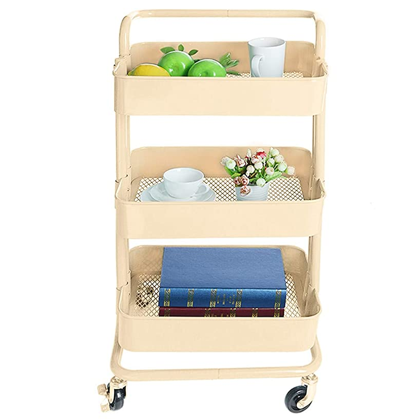 Hstore ??Storage Rack 3-Layer Metal Multi-Purpose Service Cart with Handle-Mounted Rolling Storage Rack with Handle with Wheels Beige (Ship from USA)