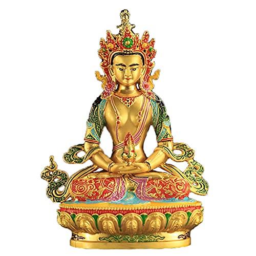 Estatua impresionante casa jardín adorno escultura decoración budista diosa de longevidad estatua, tíbet budismo templo aleación artesanía pintada budha meditación sentado longevidad buda estatua cons