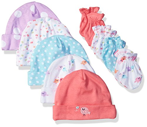 Gerber Baby Girls' 9-Piece Cap and Mitten Bundle, Little Birdie, Newborn