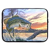 Waterproof Laptop Sleeve 13 Inch, Fishing Print Business Briefcase Protective Bag, Computer Case Cover for Ultrabook, MacBook Pro, MacBook Air, Asus, Samsung, Sony, Notebook