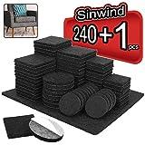 Sinwind Feltrini adesivi, Feltrini per mobili 240+1 pz, per mobili e sedie, per proteggere il pavimento, 3 dimensioni