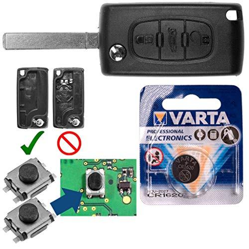 Peugeot Kit de reparación para radios de Coche Mando a Distancia de Repuesto con 3 Botones + VA2 Blank + Batería para Peugeot 407