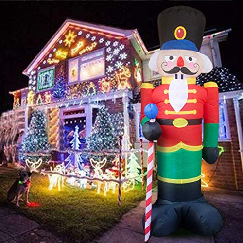 240cm/8Ft Nutcracker Inflatable Santa Claus with LED Lights Outdoor Christmas Decorations for Home Yard Garden Decor Christmas