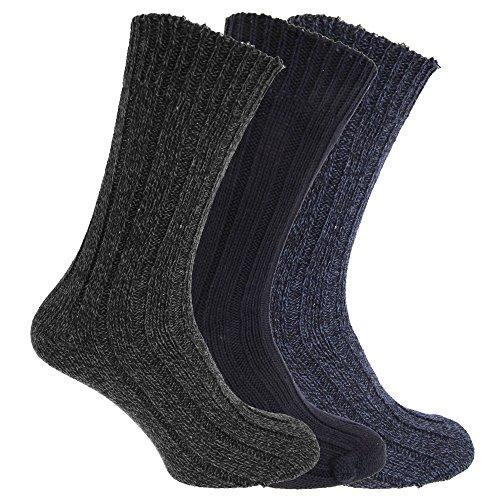 Textiles Universels Chaussettes de botte (Lot de 3) - Homme (39-45 FR) (Bleu marine/Gris/Bleu)