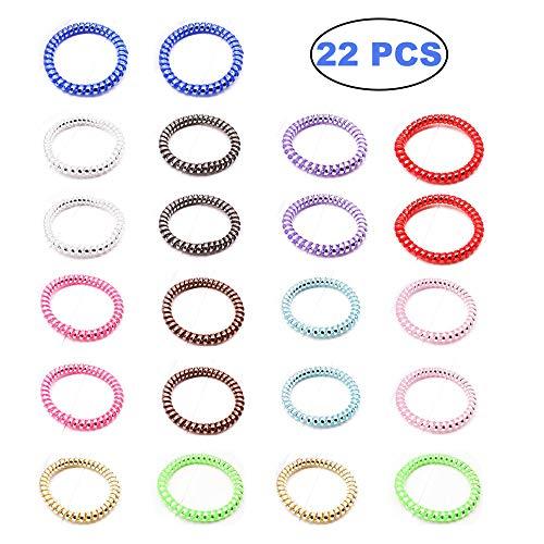 Juego de bobinas de pelo en espiral, sin arrugas, elásticas, para teléfono o coleta, 11 colores, 2 unidades por color, 22 unidades