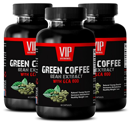 Fat Burner Supplements for Men - Green Coffee Bean Extract (with GCA 800) - Natural Green Coffee Extract Weight Best - 3 Bottles 180 Capsules