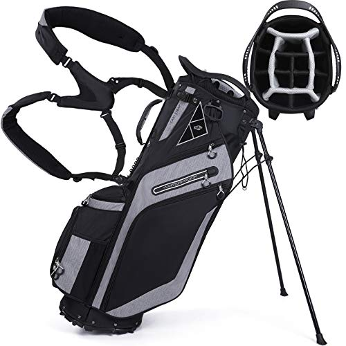 Golf Stand Bag 14 Way Top Dividers Ergonomic with Stand 8 Pockets, Dual Strap, Rain Hood