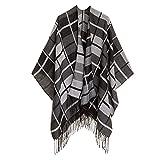 Cardigan Poncho Cape: Women Elegant Cardigan Shawl Wrap Sweater Coat for Fall Winter (PCLE05-09)
