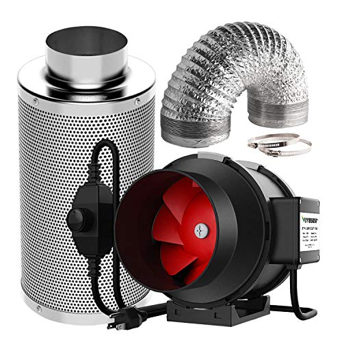 VIVOSUN 6 Inch 390 CFM Inline Fan with Speed Controller, 6 Inch Carbon Filter and 16 Feet of Ducting for Grow Tent Ventilation