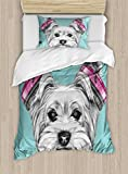 Ambesonne Yorkie Duvet Cover Set, Dog with Headphones Music Listening Yorkshire Terrier Hand Drawn Caricature, Decorative 2 Piece Bedding Set with 1 Pillow Sham, Twin Size, Blue White