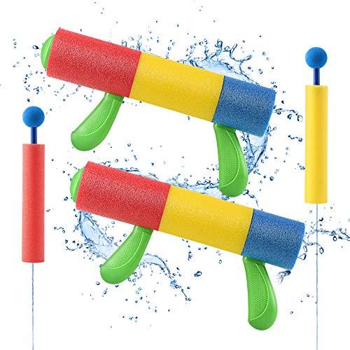 Lehoo Castle Wasserspritzpistole, Wasserpistole Schaumstoff 2er Set mit 2 Wasser Pistole Klein, Wasserspielzeug für Pool Spiel, Sommer Partys, Garten