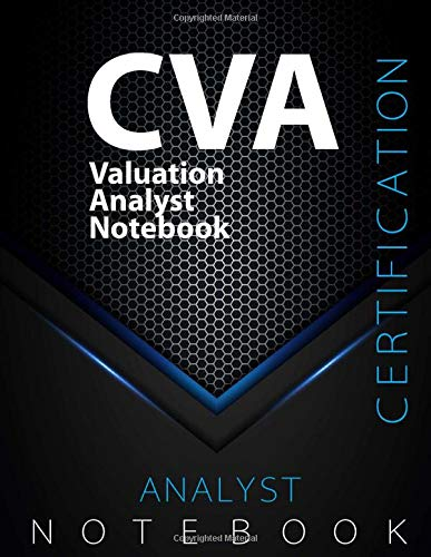 """CVA Notebook, Valuation Analyst Certification Exam Preparation Notebook, 140 pages, CVA examination study writing notebook, Dotted ruled/blank double ... 8.5"""" x 11"""", Glossy cover pages, Black Hex"""
