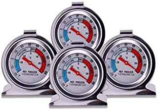 Refrigerator Freezer Large Dial Thermometer 4 Pack Classic Series Fridge Freezer Alarm Thermometer Internal Temperature Ga...