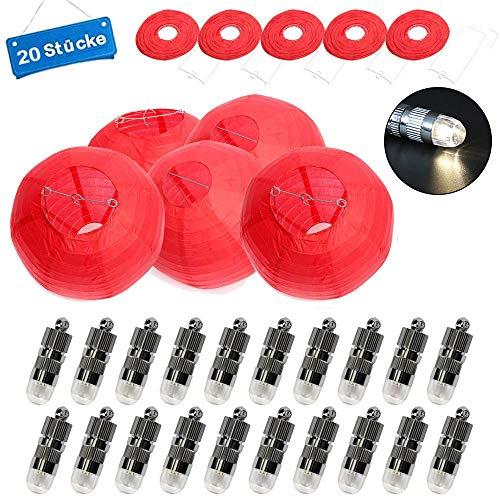20 Stücke Papier Laterne Lampions rund Lampenschirm + 20er Warmweiße Mini LED-Ballons Lichter 10