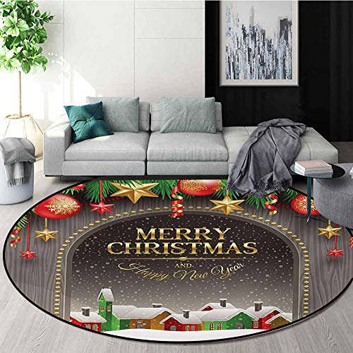 Fantastic Deal! RUGSMAT Christmas Round Rugs for Bedroom,Classic Rustic Design Season Greetings Gold...