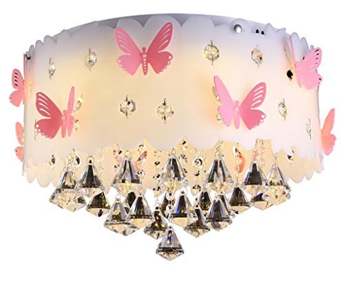 Preisvergleich Produktbild LVYI Schlafzimmerlampe Mädchen Blau Lampe Kinderlampe Schmetterling Modern Deckenlampe Rund Leuchten Jugendzimmer Jungen LED Deckenleuchte Schlafzimmer Dimmbar, 50Cm