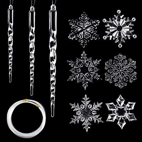 48 Stücke Acryl Schneeflocke Hängende Eiszapfen Dekorationen enthalten 24 Stücke Eiszapfen und 24 Stücke Schneeflocken Ornamente mit Seil