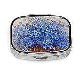 Caja de píldoras de flores azules para monedero Caja de píldoras de viaje creativa Caja decorativa Organizador de medicina de metal Recipiente de vitamina de hierro duradero para bolsillo