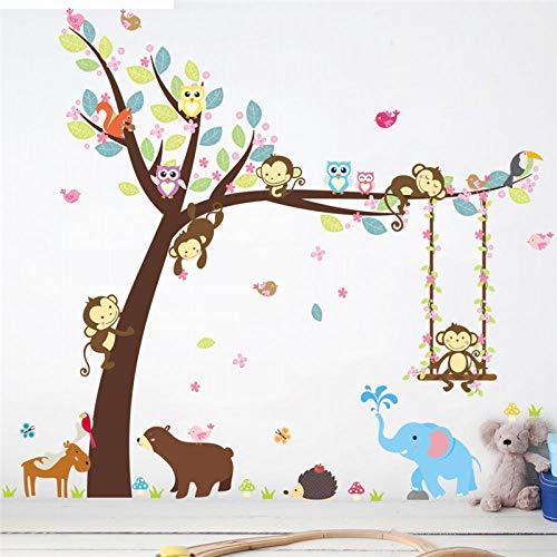 Jungle dieren Selvatici aap schommel arrampicarsi boom muursticker voor kinderkamer kinderkamer muursticker Nursery slaapkamer