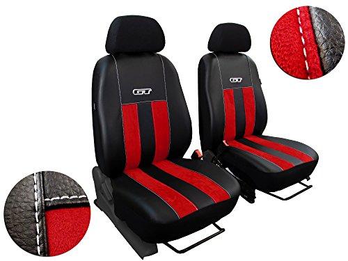 POK-TER-TUNING Bus - Bezüge - Autositzbezüge,Super Qualität, Alikantra GT mit Kunstleder Set Bus 1+1 - Passend für T4. in Diesem Angebot Rot.