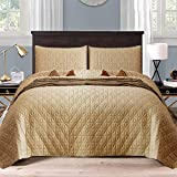 Exclusivo Mezcla 3-Piece Queen Size Quilt Set with Pillow Shams, as Bedspread/Coverlet/Bed Cover(Grid Weave Camel) - Soft, Lightweight, Reversible& Hypoallergenic