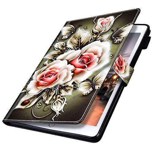 MoreChioce kompatibel mit Samsung Galaxy Tab A 8.0 2019 P200/P205 Hülle Leder,Galaxy Tab A 8.0 Hülle Case,Bunt Rose Muster Smart Cover Tablet Stand Case Wallet mit Auto Sleep/Wake Funktion