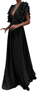 FAPIZI Women Fly Sleeve Solid Strappy V-Neck Lace Cocktail Wedding Dress Casual Bridesmaid Gown Long Dress