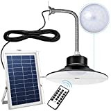 Solar Lights Outdoor Indoor with 11.42in x 7.48in Adjustable Large Solar Panel, 9.65in Lamp, Dimmable Time Setting Remote Control, 26Ft Cord, JACKYLED Solar LED Pendant Lights for Shed Shop Balcony