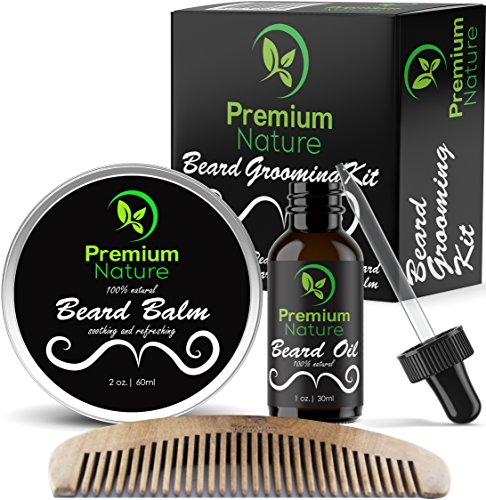 Beard Grooming Kit Gift for Him – for Mustache & Beard Growth – Soften Soothe & Moisturize Skin & Hair – Castor Jojoba Almond & More Essential Oils – Premium Nature