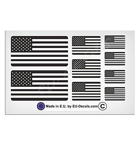9 x USA-Flaggen schwarz und weiß laminiert Aufkleber Aufkleber für Helm und Fahrrad MioVespa Kollektion