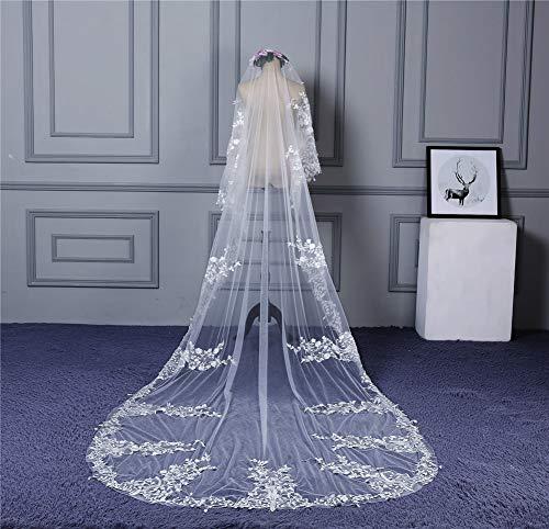 Bridal Veil Hochzeitskleid mit Spitze, Hijab, Brautkleid, Hochzeitszubehör, Elfenbeinfarben, 400 x 150 cm