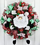 Santa Claus Wreath | Christmas Mesh Outdoor Front Door Wreath; White Red Lime Green Black