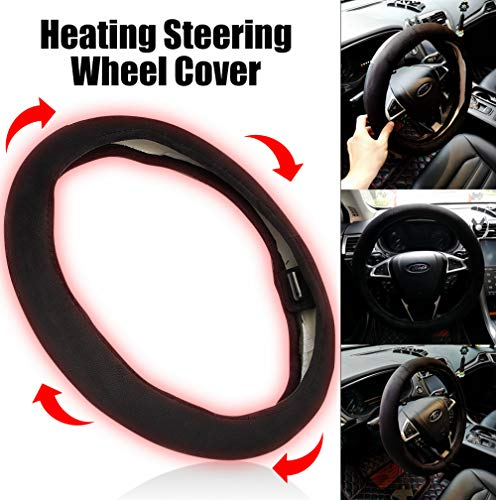 Goodream Car Black Heated Steering Wheel Cover Interior Accessories Gifts for Women Men Keep Comfortable and Warm(Fit for 14.5-14.96 inches)