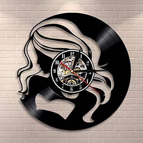 Reloj de pared de vinilo Reloj de pared para mujer de pelo largo de Hipsters, reloj de vinilo para chica de compras a la moda, reloj de pared artístico para mujer exótica, regalo para ella cmkd2123