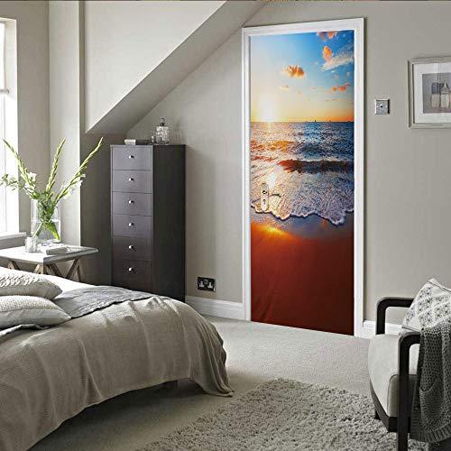 Pegatinas de puerta 3D, pegatinas de arte mural autoadhesivas, dormitorio, sala de estar, oficina, baño, decoración del hogar, mar