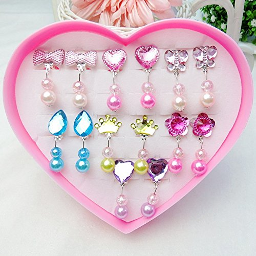 Face Like 7 Pairs Clip-on Earrings with Pads for Girls Dress up Princess Jewelry Storage in Heart Shaped Box