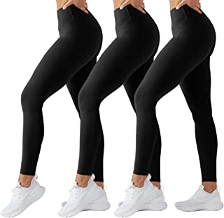 High Waisted Leggings for Women - Tummy Control Full Length Tights for Athletic Yoga - Regular & Plus Size