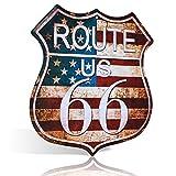 不适用 US Route 66 SHIELD - Cartel de chapa con diseño de cueva, bar, garaje retro