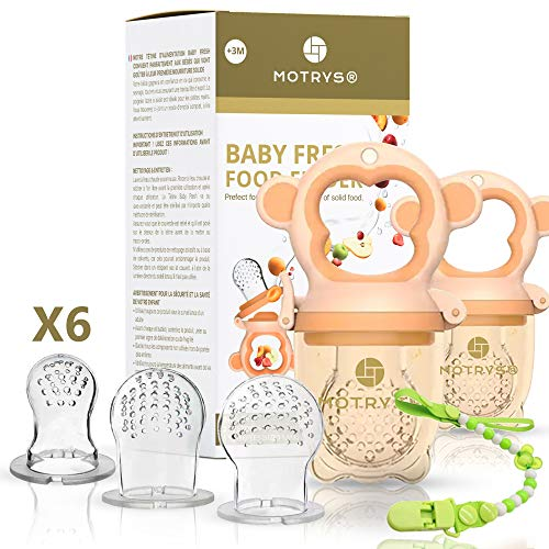 MOTRYS Set of 2 Fruit Feeder Pacifier |Baby Feeder Pacifier | from 3 Months | Fruit and Vegetable Nibbler | Diversification | 3 Sizes | BPA Free Silicone | Ergonomic Handle | CE FDA
